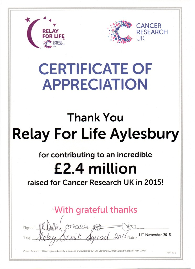 UK Relays raise £2.4million in 2015! 1